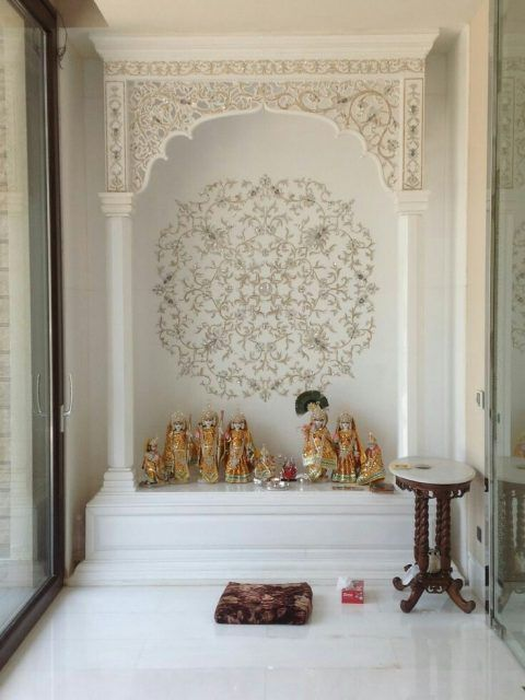 10 Pooja Room Door Designs That Beautify Your Mandir Entrance: 5 Marble Pooja Mandir Designs For Homes (You'll Love These