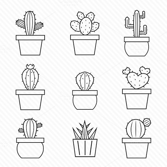 Set Of Vector Cactus Icons By Yod67 On Creativemarket Bullet