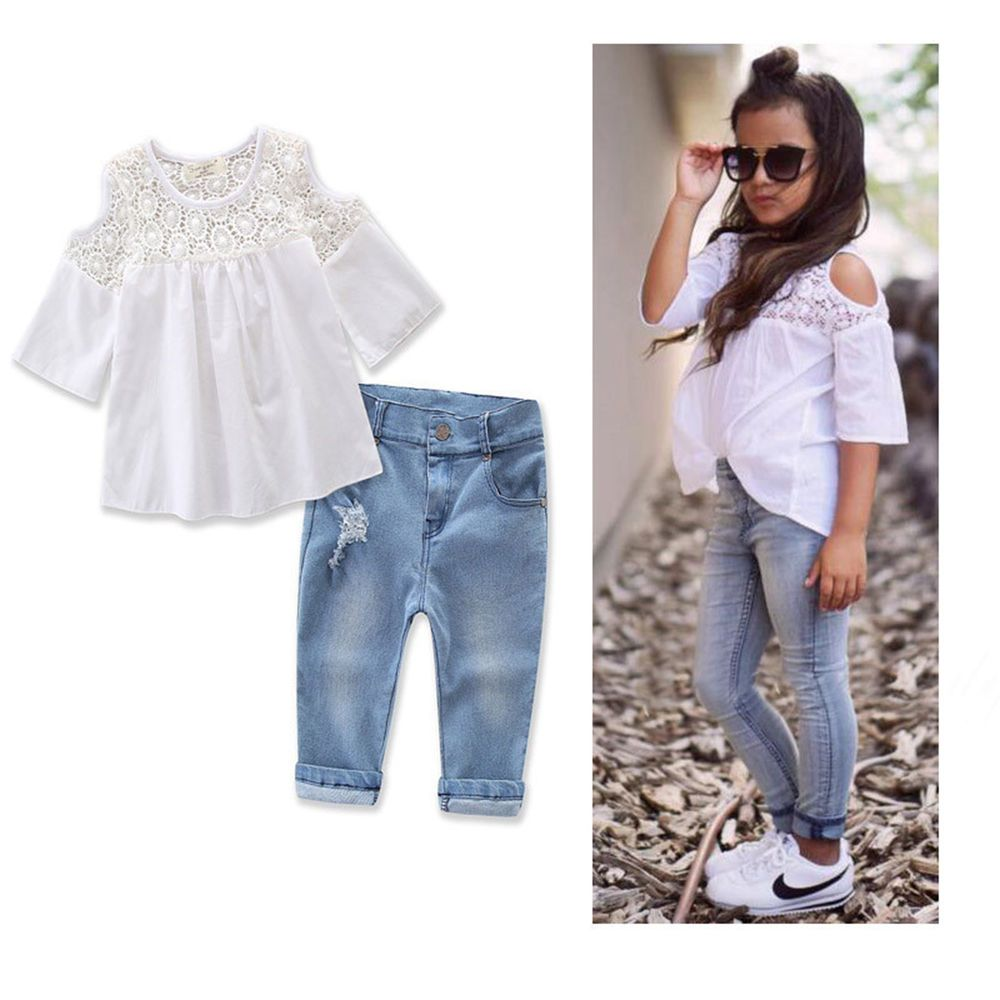 6826ba6c2 2PCS Toddler Kids Baby Girl Lace T-shirt Tops + Denim Pants Jeans Clothes  Set