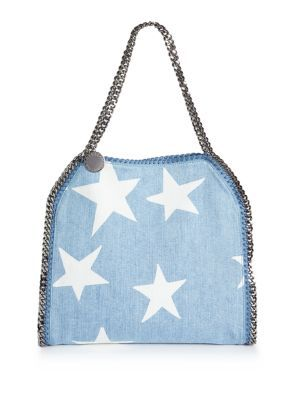 STELLA MCCARTNEY Falabella Mini Baby Bella Star-Print Denim Tote.   stellamccartney  bags  shoulder bags  hand bags  tote b33b82e615093