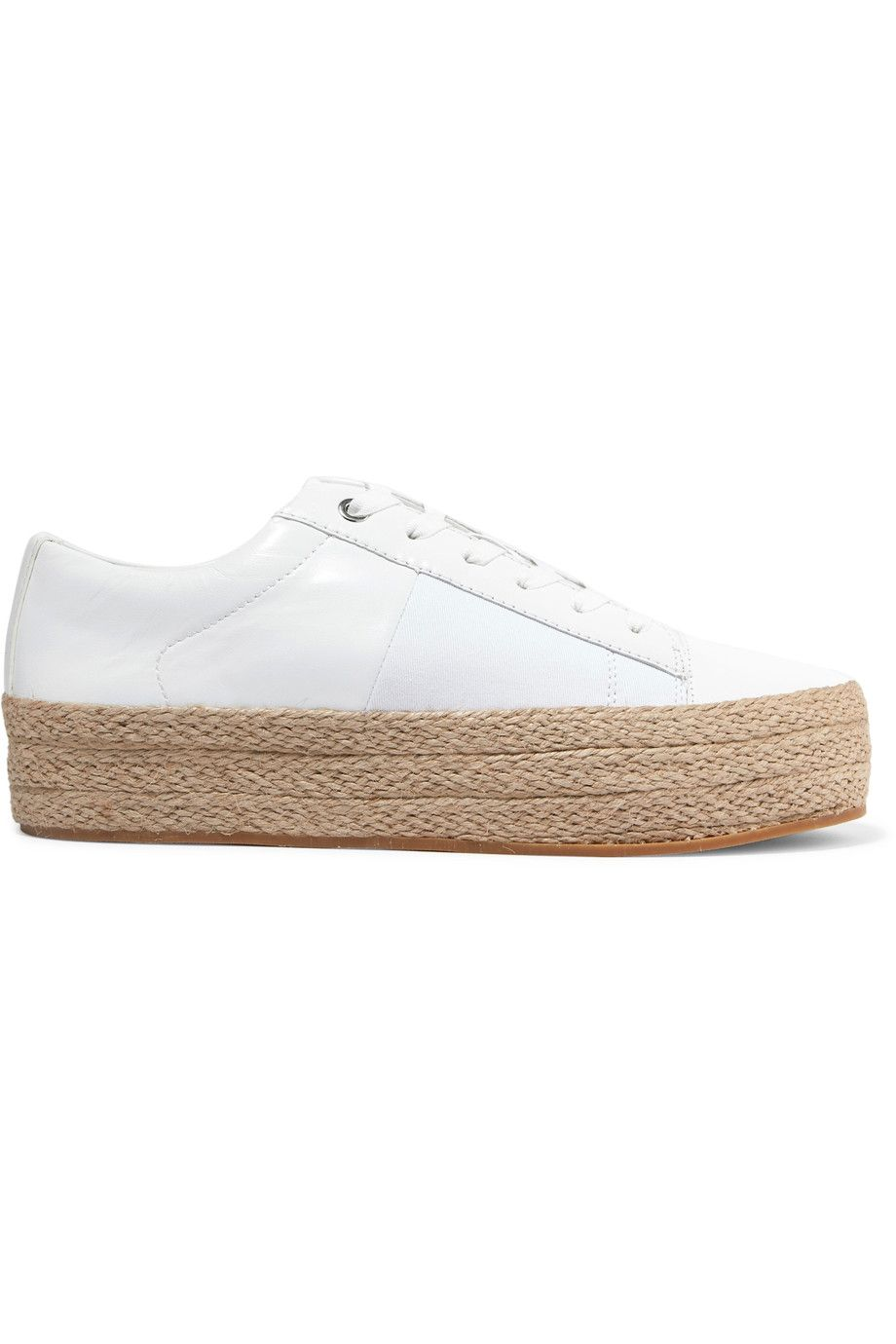 3c97523fdae DKNY Bari leather and canvas platform sneakers.  dkny  shoes  sneakers