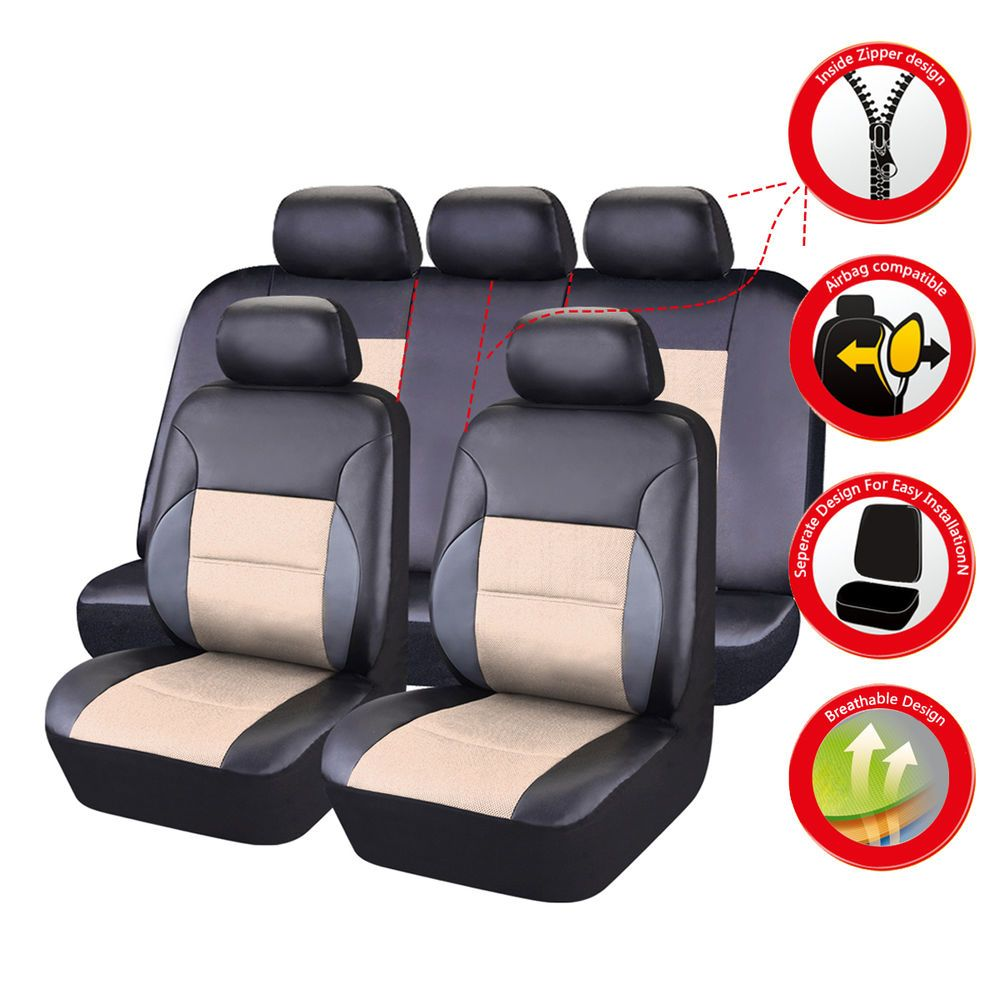CARPASS Breathable beige PU leather Universal fit Full Set car seat ...