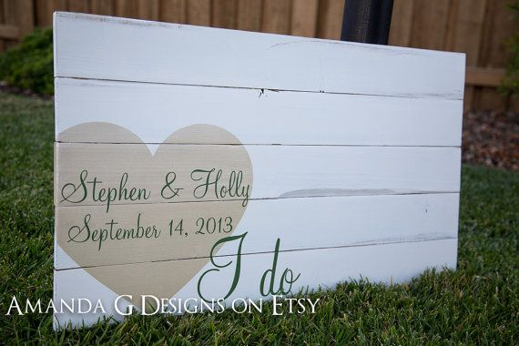 Personalized Wood Sign Wedding guest book alternative with Wrap-Around Heart (White Distressed)