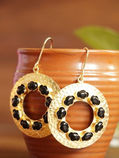 Beautiful Earrings With Black Color Touch