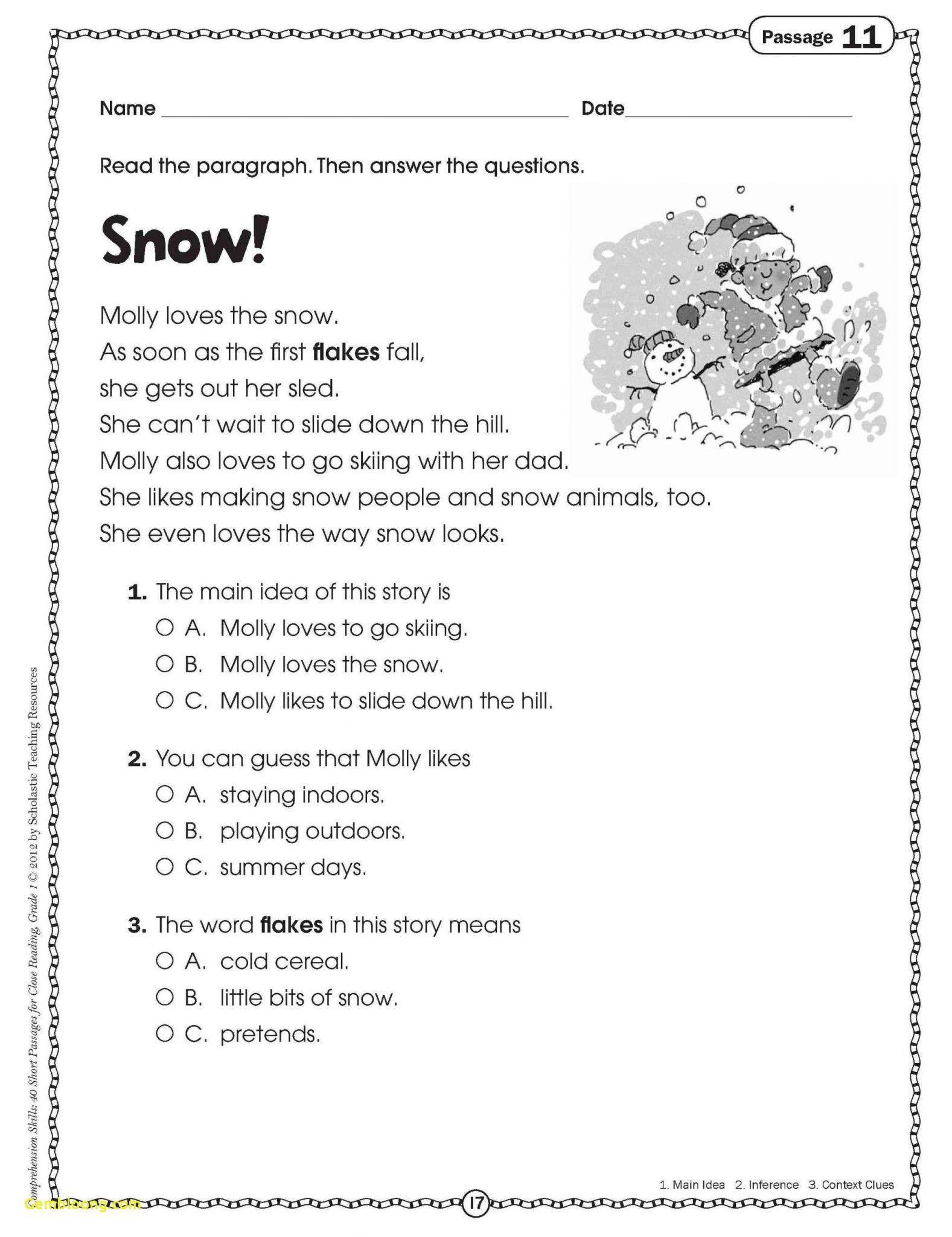 Classified Main Idea Worksheets 1st Grade Mainidea Comprehension Worksheets Reading Comprehension Worksheets Reading Comprehension Reading comprehension grade main idea