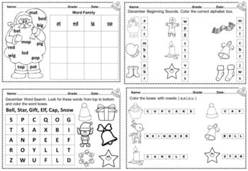 December Kindergarten Math Worksheets