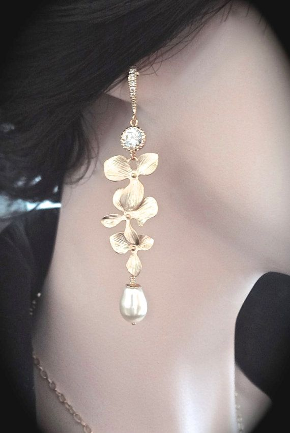 Gold orchid and pearl drop earrings  14K gold by QueenMeJewelryLLC