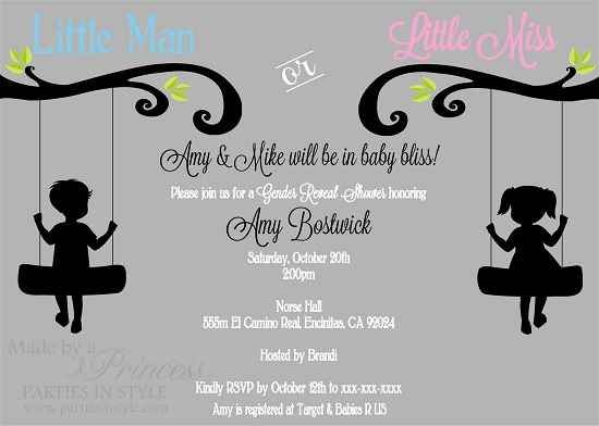 Little Man Or Little Miss On Swings Gender Reveal Baby Shower Invitation