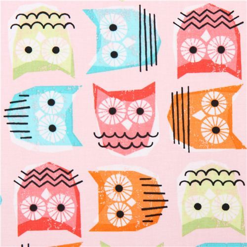 pink owl fabric Timeless Treasures Enchanted Forest