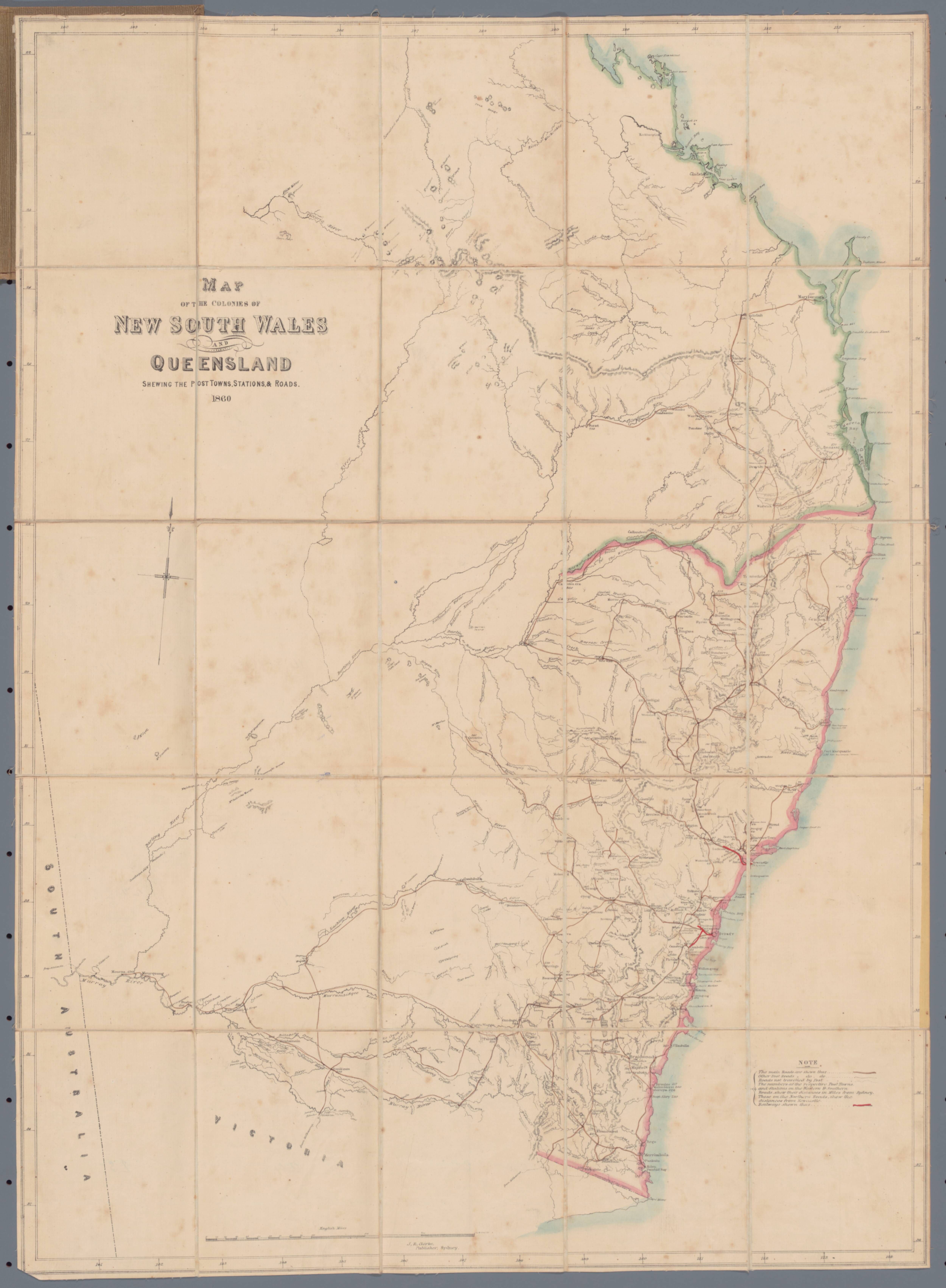 Nsw Map Australia.1860 Map Of The Colonies Of Nsw And Queensland Map Australia