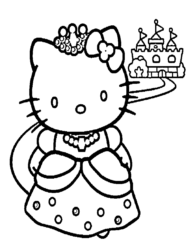 Delightful Coloriage Hello Kitty Princesse #11: Hello Kitty Princess Coloring Page
