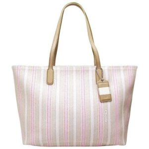 *Coach Legacy Ticking Stripe PVC Zip Top Medium Tote 23108 (SV/Khaki/Pink) Price & Reviews by B. Crowley