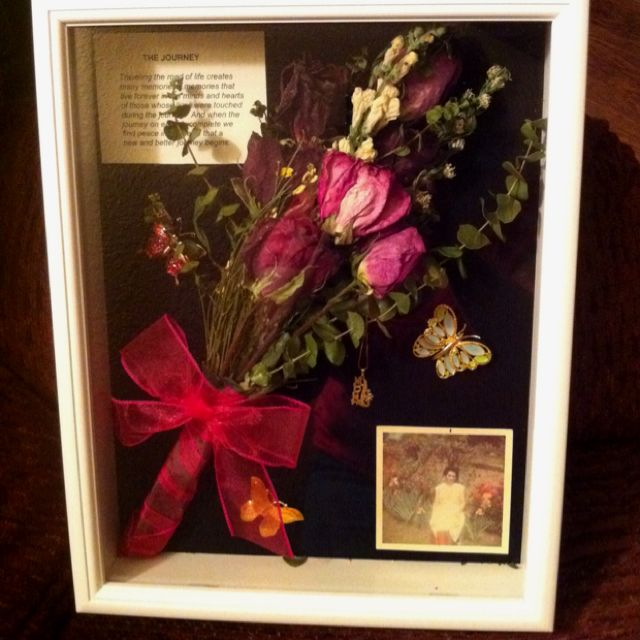 This Was A Shadow Box That We Made In Remembrance Of My Granny She Loved Flowers Butterflies And Brigh Flower Shadow Box Wedding Shadow Box Dried Flowers Diy