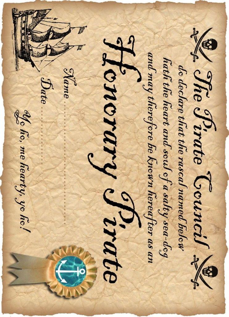 DEFINITELY! free printable Honorary Pirate Certificate Party Hard - copy certificate picture