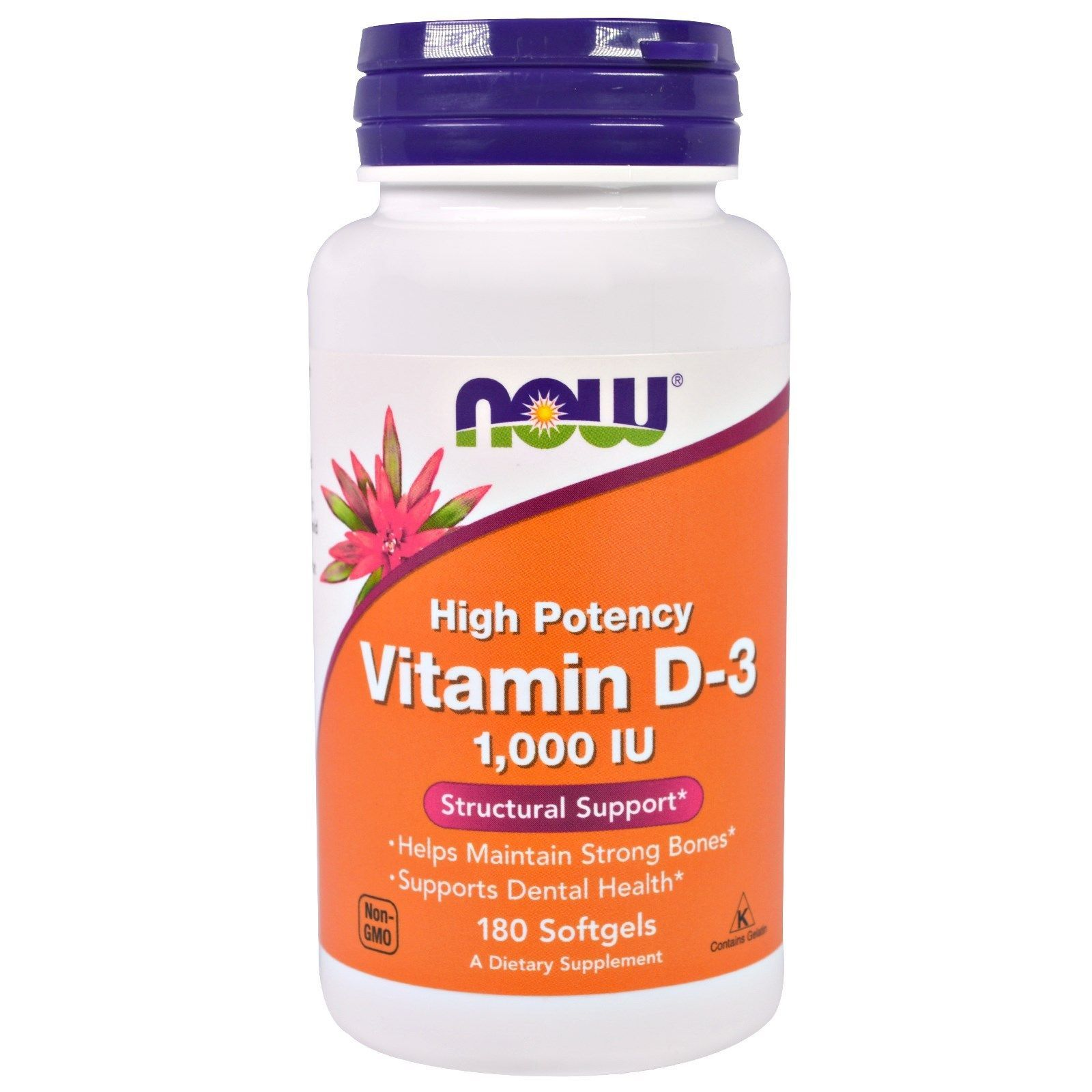 Now Foods, Vitamin D3, High Potency, 1,000 IU, 180