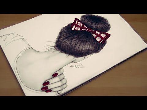 تعليم رسم الشعر بطريقة مميزة مع رسم بنت بشكل سهل واحترافي How To Draw Realistic Hair Youtube Realistic Drawings Easy Hairstyles Drawings