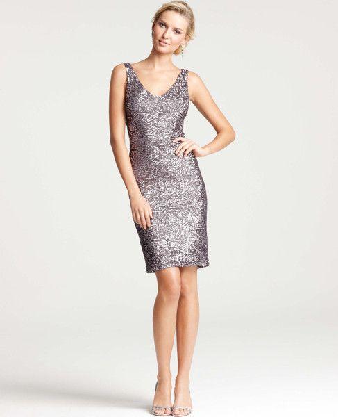 Ann Taylor At Tail Dresses Allover Sequin V Neck Dress