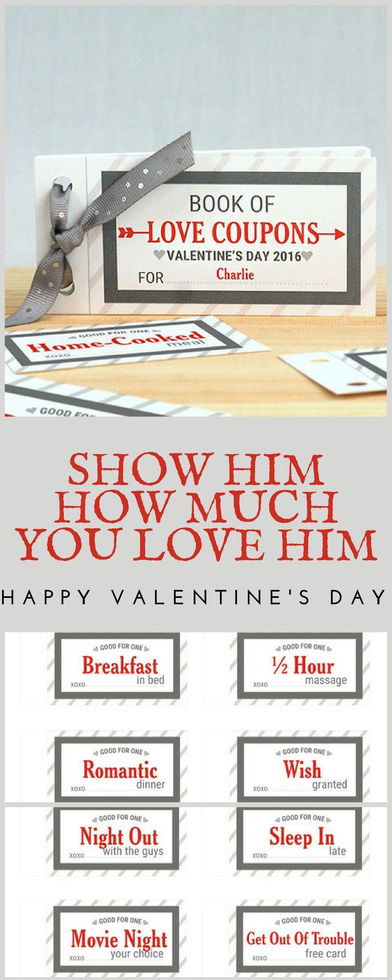 personalized love coupon book for him, couple gift, valentine's day