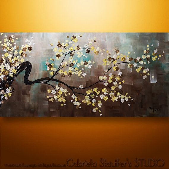 Abstract Painting Original Modern Landscape Asian Zen Tree Blossom Painting Art by Gabriela 48x24 Large Zen Art Earthy Abstract Painting