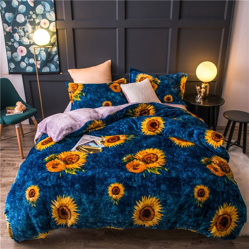 Sunflower Fleece Warm Twin Full Queen King Size Bedding Set Bed Set Duvet Cover Flat Sheet Bed Sheet Parure De Lit Ropa De Cama King Size Bedding Sets Bedding Set King