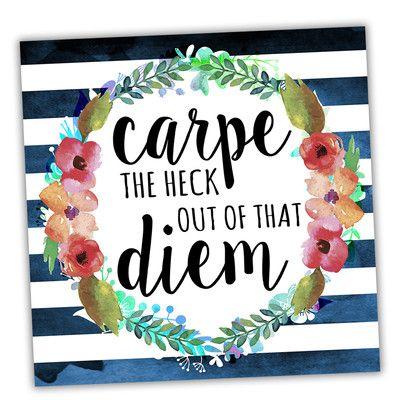 Picture It On Canvas Wreath Quotes Carpe Diem Floral Textual Art