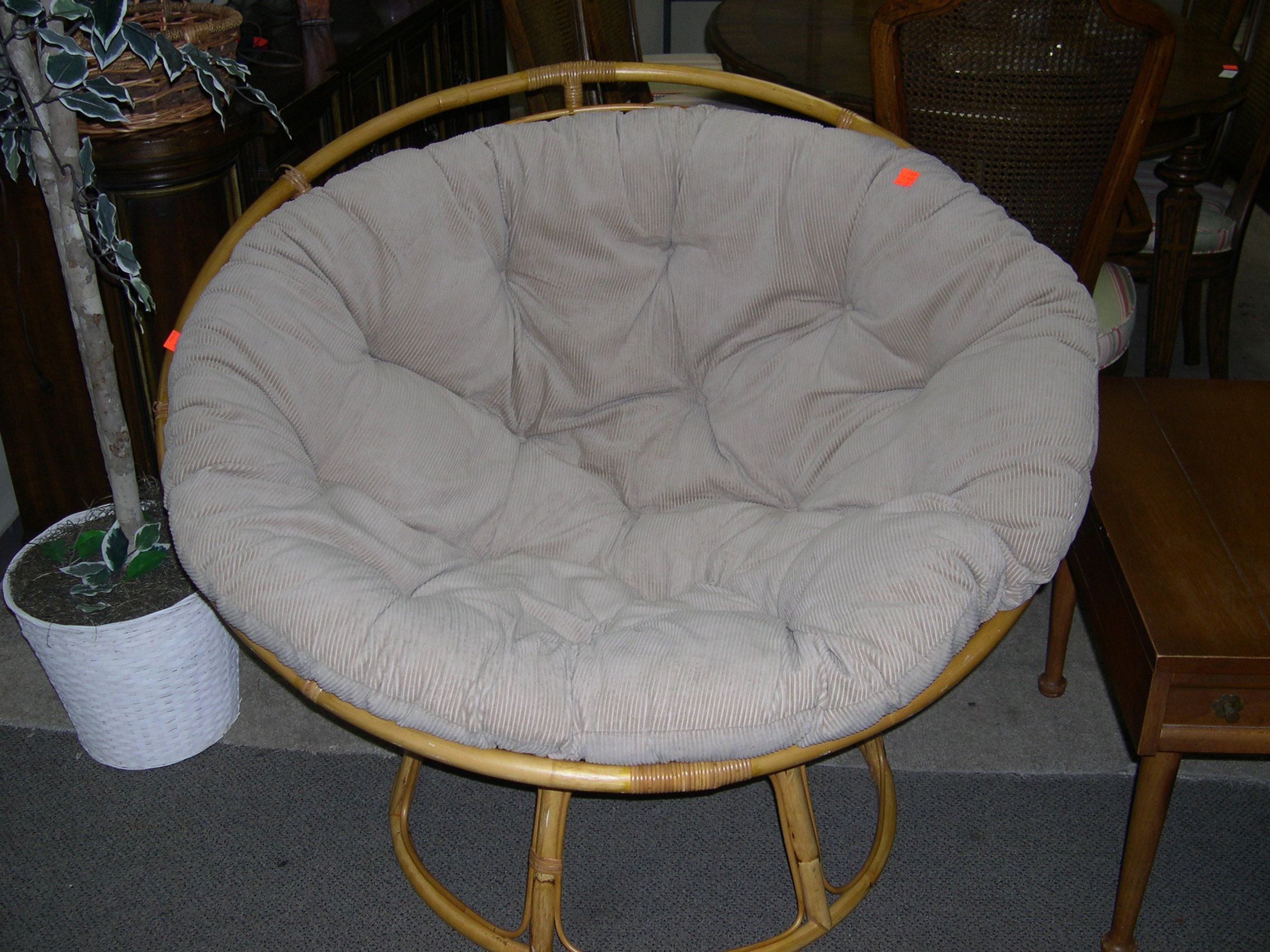 Awesome Vintage (Retro) Chair With Round Bamboo Frame And Fabric With Padded Seat.  Fun