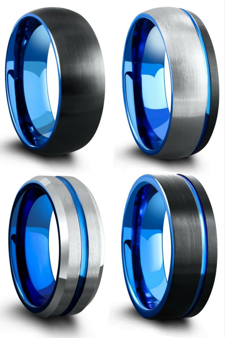 It is a graphic of Unique Mens Wedding Rings. Blue, black, and silver tungsten