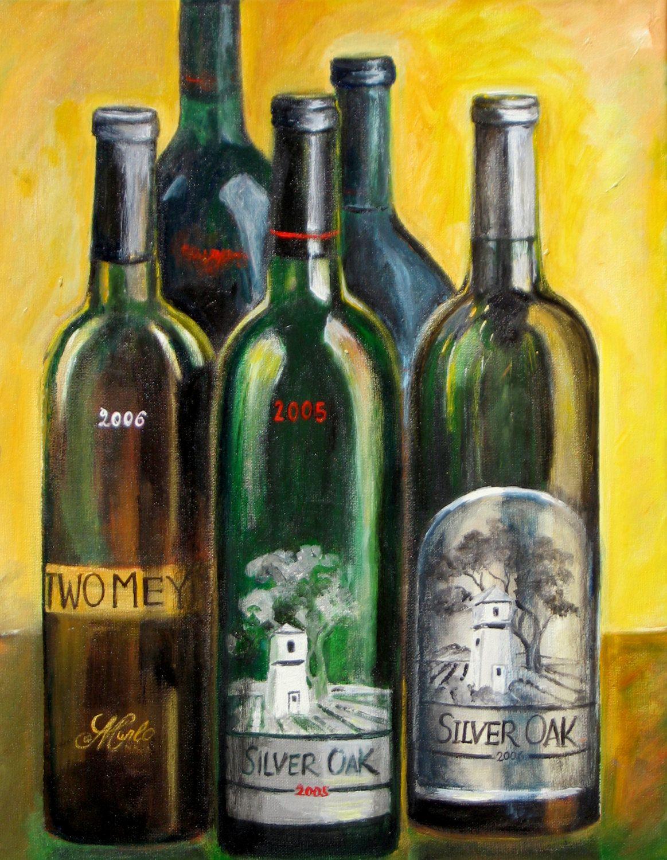 Kitchen art wine - Wine Bottle Painting Wine Wall Art Print Silver Oak Wine Bottles Kitchen Art