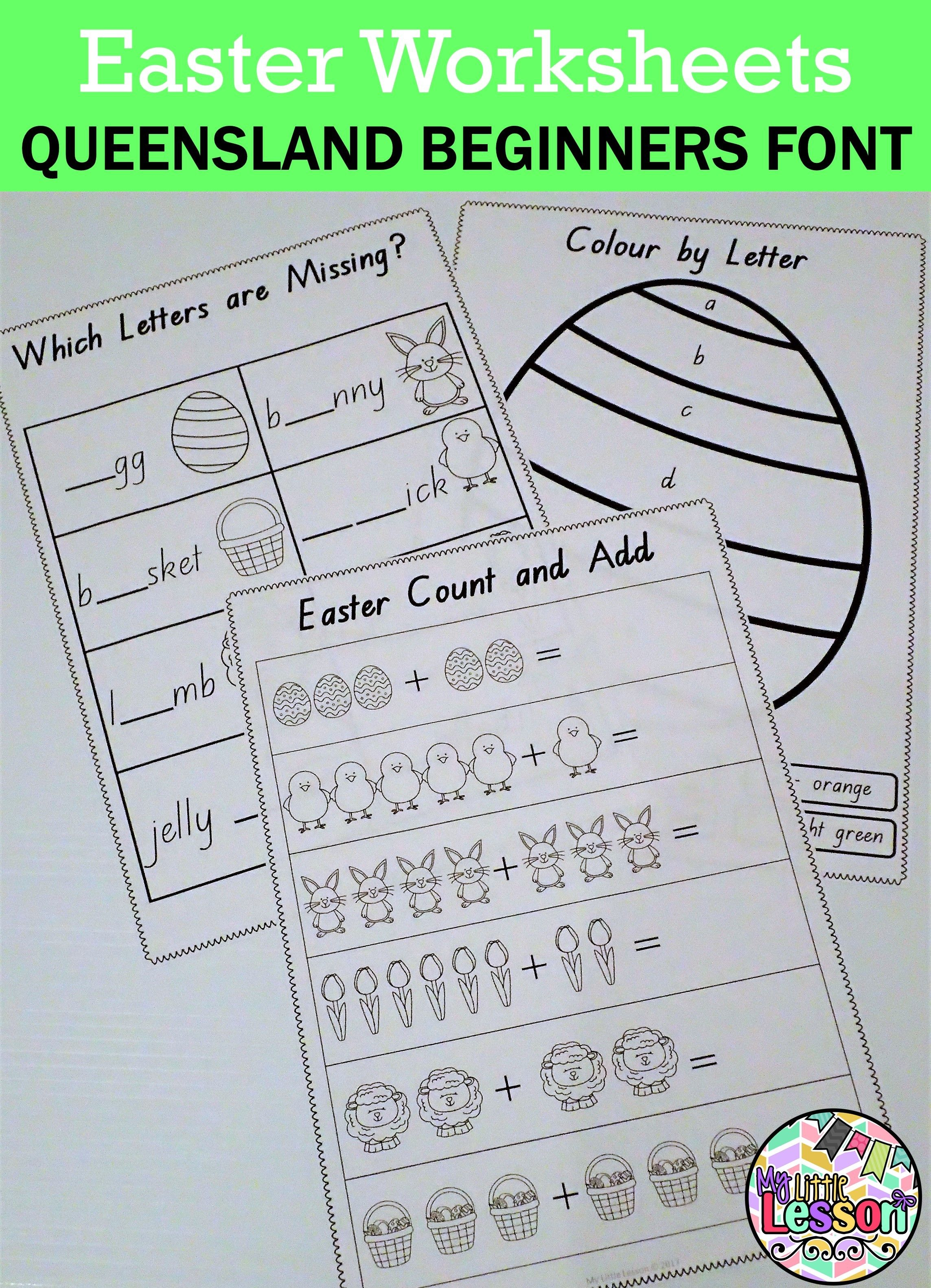 Easter Worksheets Qld Beginners Font