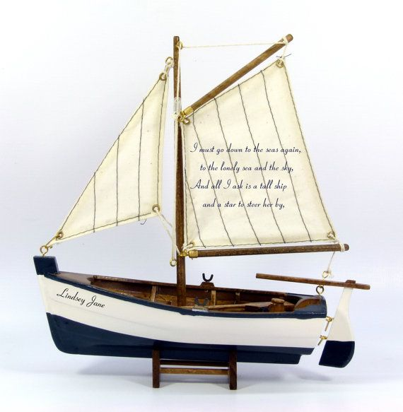 Personalised Wooden Model Sailing Rowing Boat With Nautical Poem And