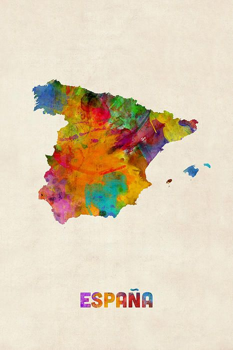 Spain Watercolor Map By Michael Tompsett Watercolor Map Map Art