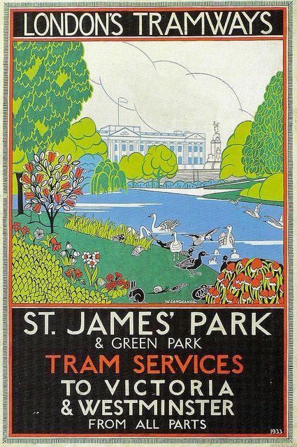 1933 Hampstead Heath London Tramways  A3 Poster Reprint