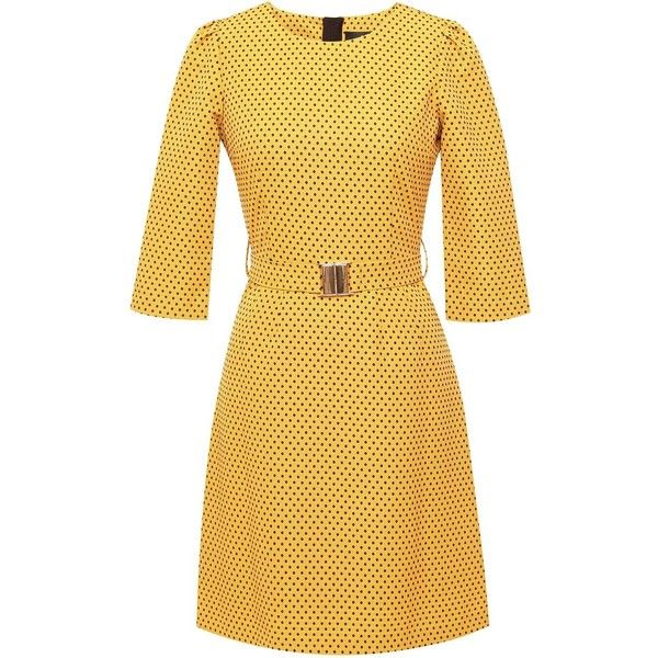 Emily Lovelock - Dress With Sleeves Yellow Polka Dot ($115) ❤ liked on Polyvore featuring dresses, polka dot dress, yellow dress, yellow day dress, sleeved dresses and yellow sleeve dress
