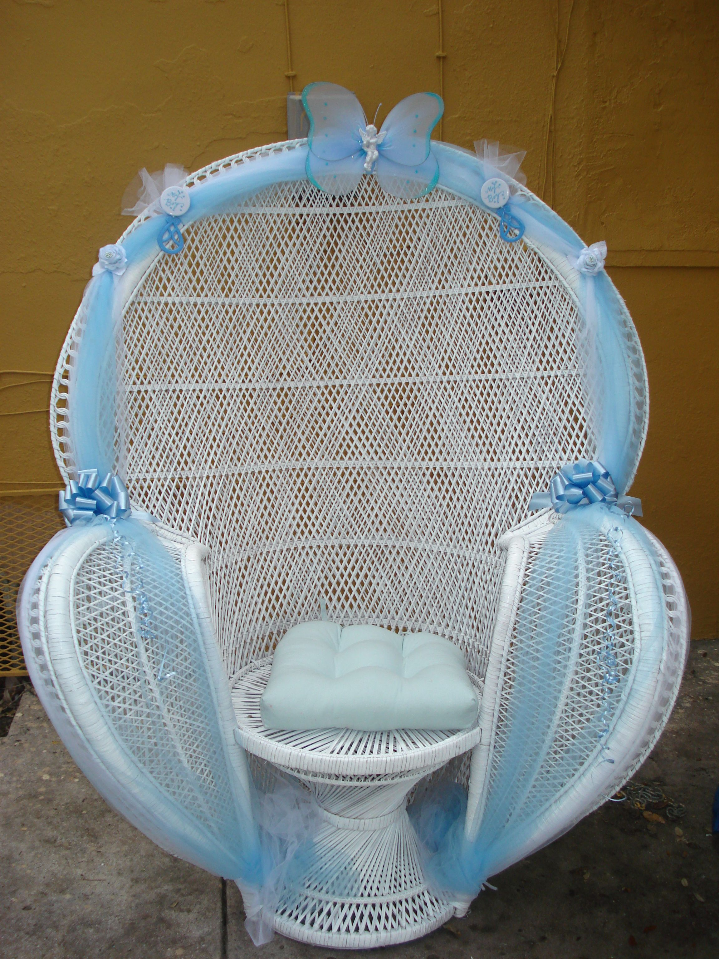 Baby shower chairs on pinterest balloon arch rocking for Baby boy baby shower decoration ideas