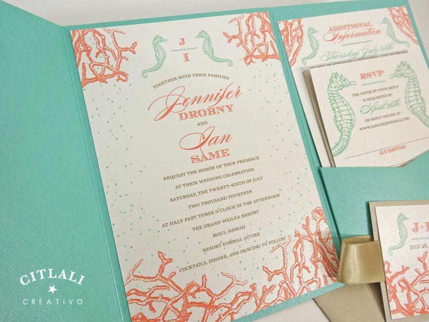 Seahorse Coral Reef Monogram Wedding Invitations - Island Beach ...