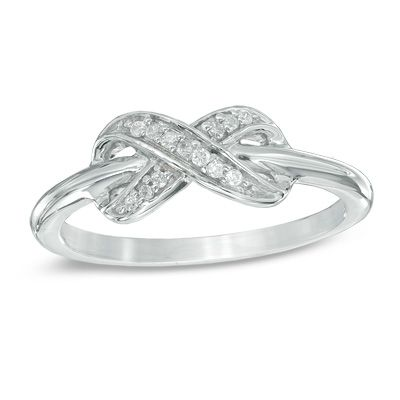 Diamond Accent Infinity Midi Ring in Sterling Silver
