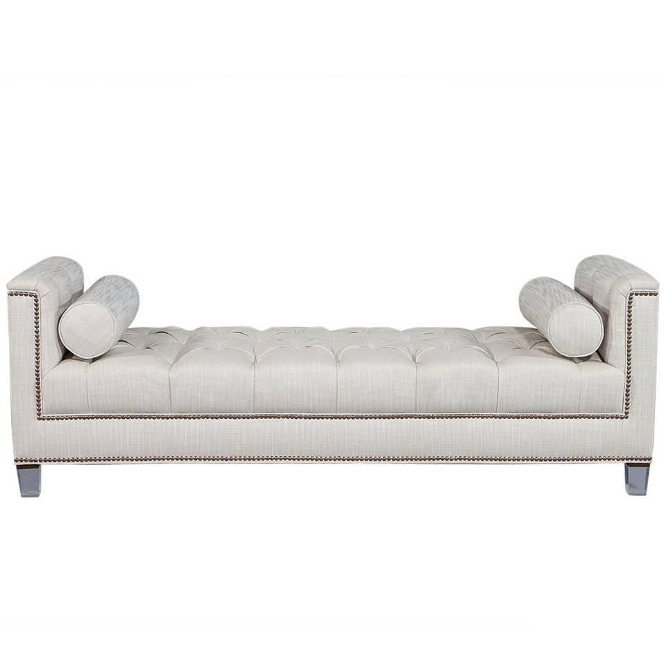 Carrocel Custom Lucite Tufted Daybed with Brass Nail Trim   Moderno ...