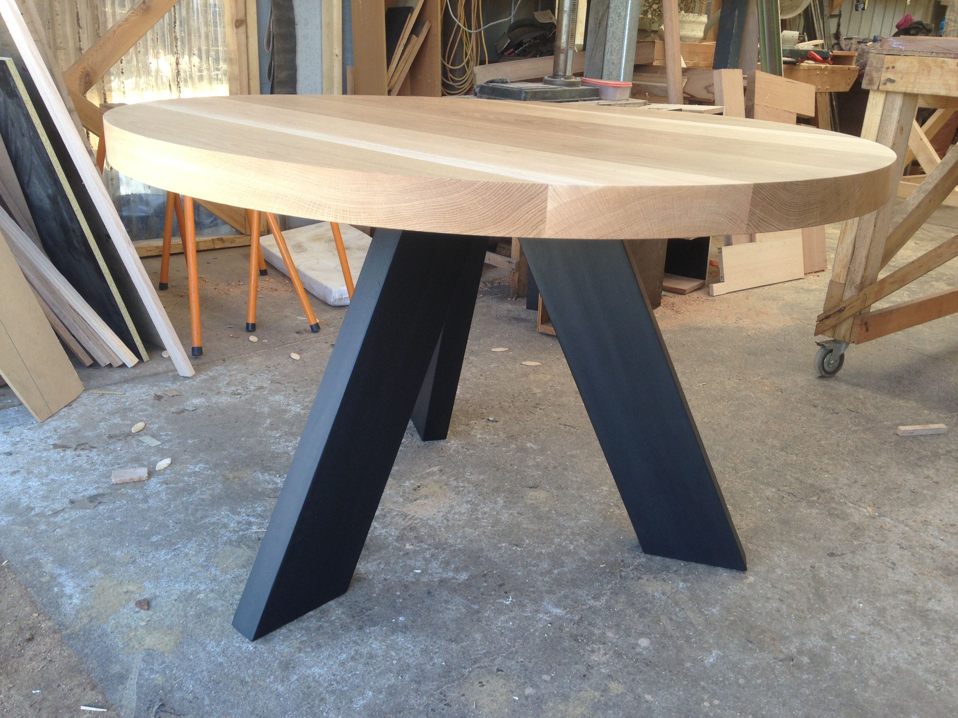 Solid American Oak Round Dining Table With Matte Black Angled Legs  #bomboracustomfurniture