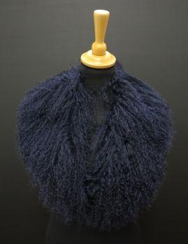 Kožešinový límec z tibetské ovce  L - 212 NAVY BLUE
