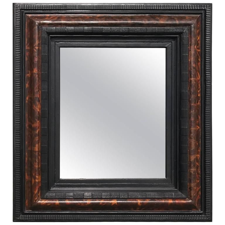 b242f4ee428 Handsome 18th century Dutch cushion frame mirror with faux painted tortoise  shell surrounded by ebonized ripple molding. Circa 1700. 41 H x 36 W x 4 D