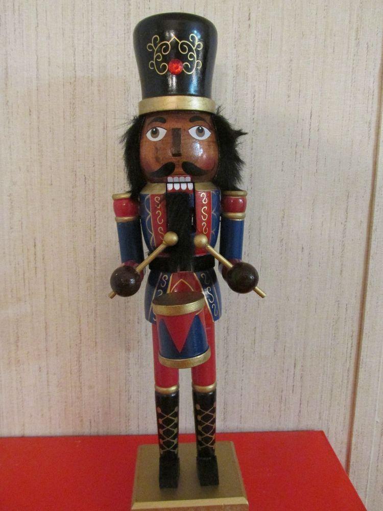 African American Christmas  Nutcracker Ethnic Black Royal King Drummer RED