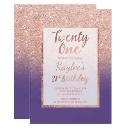 Faux Rose Gold Glitter Purple Chic 21st Birthday Card Rose Gold
