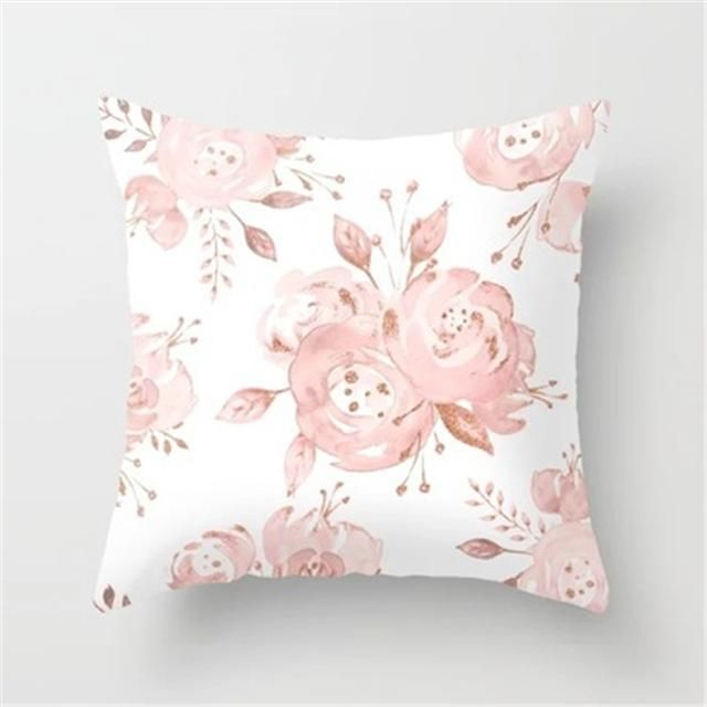 Geometric Polyester Cushion Cover Pink Marble Print ...