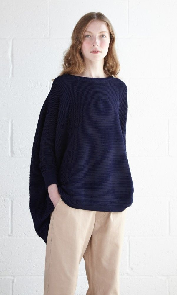 9c45a94da9f Navy oversized ribbed-knit sweater with dropped shoulders, narrow ...