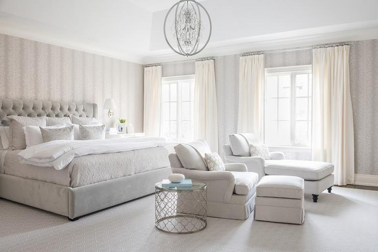 Light Gray Bedroom Features Walls Clad In White And Gray Wallpaper