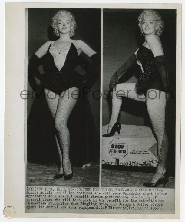 MARILYN MONROE 8.25x10 news photo 1955 two images in skimpy circus outfit for charity event! | #1990241696