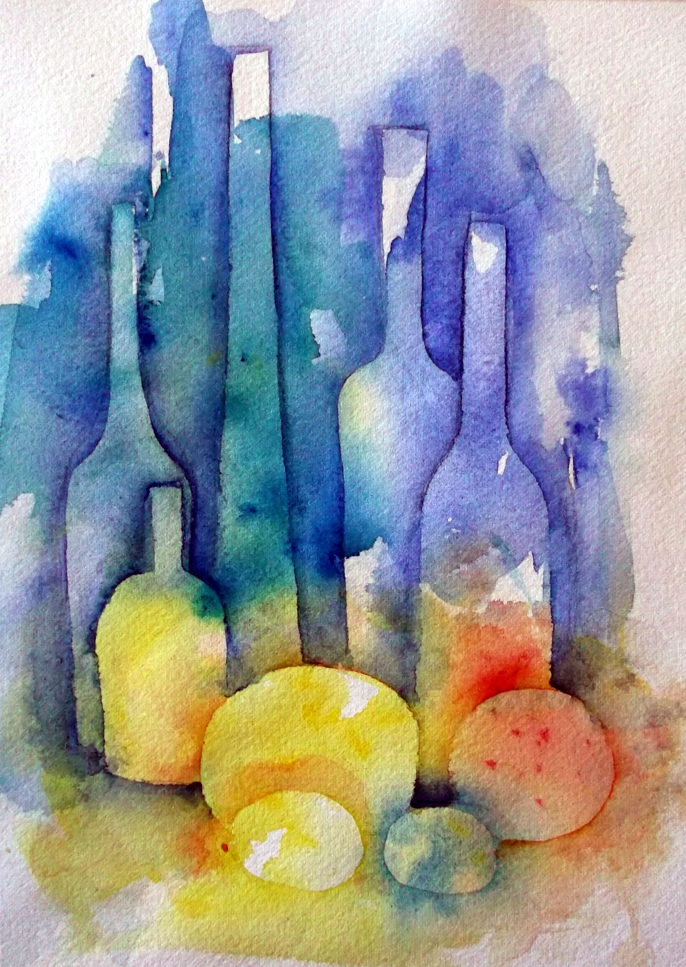 Still Life Watercolour Watercolor Negative Painting Painting