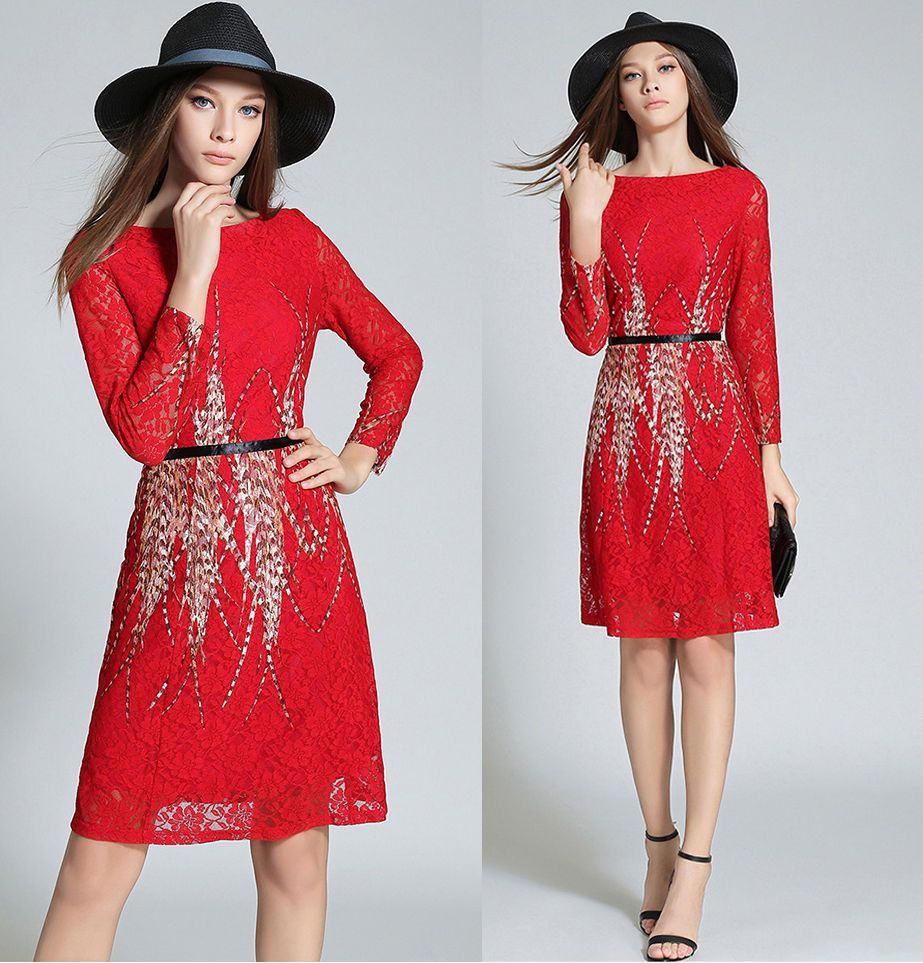 2016 Autumn Fashion Boat Neck Geometry Printed Lace Long Sleeve A-Line Dress