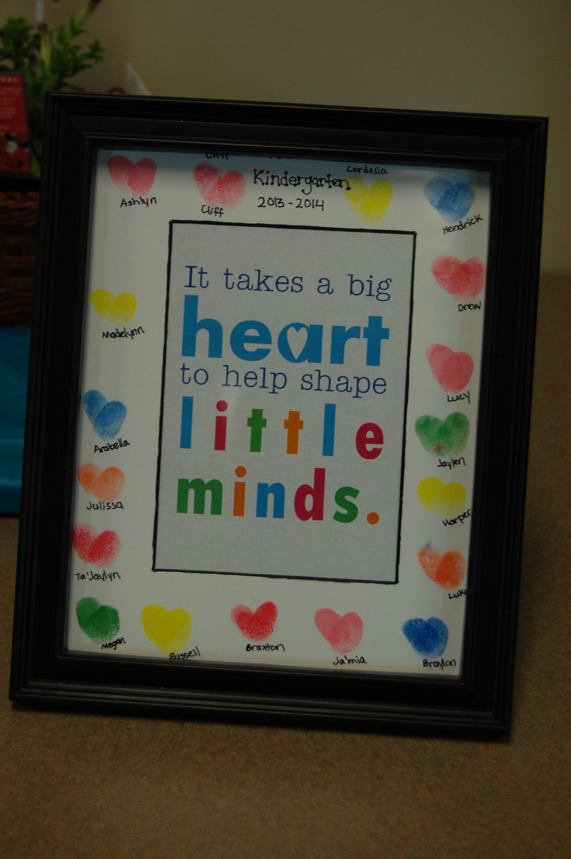 Classroom Keepsake Ideas : Heart thumbprints make a cute picture frame for the end of
