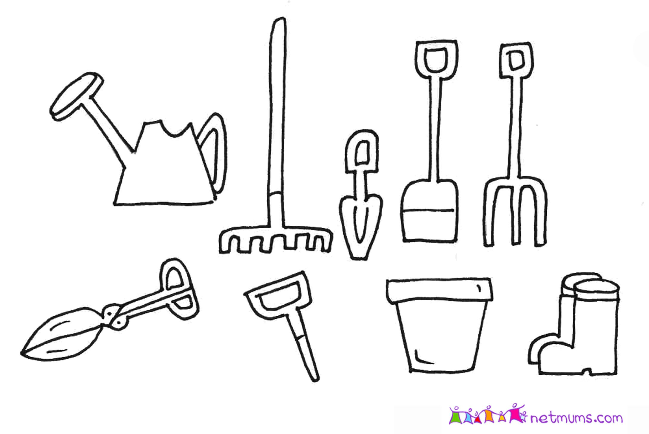 hoe garden tool coloring pages - photo#3